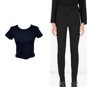 Zara Outfit Black High Rise Jeans Cropped T-shirt